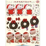 3D Precut Morehead Christmas Wreath, Kitty/Stocking and Bear