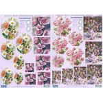 3D Precut - Dark Pink Flowers-2 sheets