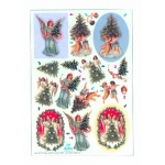 Metallic Precuts Sheet Victorian angels Christmas