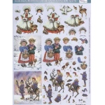 Metallic Precut 3D Paintbox Pre-cut Winter Children with Animals