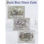 Satin Pearl Winter 3-D Precut card kits - Winter Houses Landscapes (3 cards)
