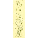 "Border embossing folder Saxophone 1"" x 6"""