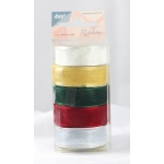 Organza 12mm Ribbon -Box of 5 -Christmas Colours