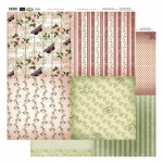 Couture Creations 12X12 Patterned Paper  (8 Designs) - Butterflies & Stripes - Vintage Rose Collection (5)