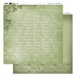 Couture Creations 12X12 Patterned Paper  - Green Typo - Vintage Rose Collection (5)