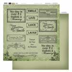 Couture Creations 12X12 Patterned Paper  - Green Words - Vintage Rose Collection (5)