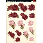 3D Decoupage Sheets A4, 6 pcs Roses 03 Cutting Sheets