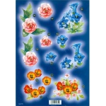 Craft UK  - Pink, Blue & Orange Flowers With Gold