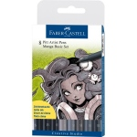 Faber-Castell PITT Artist Pen: Manga Set of 8 (Shades of Black and Grey)