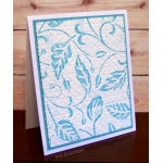Blue Embossed Leaves Card