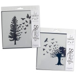 Claritystamp  - Birds And Butterfly Trees Stencil