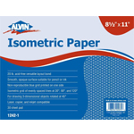 "Alvin® Isometric Paper 500-Sheet Pack 8.5"" x 11"": Sheet, Isometric, 500 Sheets, 8 1/2"" x 11"", 20 lb, (model 1242-3), price per 500 Sheets"