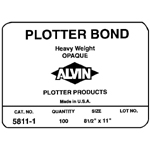 "Alvin® Heavyweight Opaque Plotter Bond 50-Sheet Pack 22 x 34: White/Ivory, Sheet, 50 Sheets, 22"" x 34"", (model 5811-9), price per 50 Sheets"