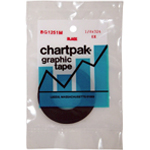 "Chartpak® 1/8 x 324 Graphic Tape Black Matte: Black/Gray, 1/8"" x 324"", Graphic, (model BG1251M), price per each"