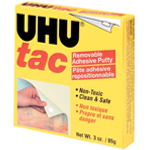 UHU® Tac Removable Adhesive Putty Block: White/Ivory, Putty, Square, (model U99681), price per each