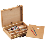 "Heritage Arts™ Palette Sketch Box Medium: Brown, Wood, 9 1/2""d x 12 1/2""w x 2 3/4""h, Palette Sketch Box, (model HWB147), price per each"