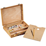 "Heritage Arts™ Palette Sketch Box Large: Brown, Wood, 12""d x 15 1/2""w x 3 1/4""h, Palette Sketch Box"