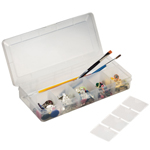 "Heritage Arts™ Small Organizer Box: Clear, Plastic, 4 1/2""d x 10 1/4""w x 1 1/2""h, (model HPB1005), price per each"