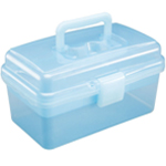 "Heritage Arts™ Small Art Tool Box: Blue, Plastic, 5""d x 9 1/2""w x 5 1/4""h"
