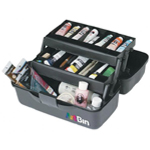 "Artbin® Essentials Two-Tray Box: Black/Gray, Plastic, 8 1/2""d x 15 1/2""w x 7 1/2""h, (model 8627AB), price per each"