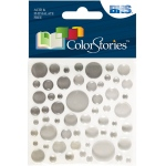 "Blue Hills Studio™ ColorStories™ Epoxy Color Spots Stickers White/Gray: White/Ivory, Epoxy, 3 1/4"" x 3 1/4"", Dimensional"