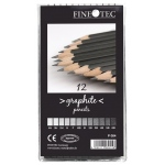 Finetec 12-Piece Graphite Pencil Set: Black/Gray, Drawing