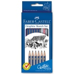 Faber-Castell® Graphite Sketch Set: Black/Gray, 2B, 2H, 4B, 6B, B, HB, Drawing, (model FC114000), price per set