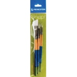 Princeton™ Snap! White Taklon Brush Set Round 0 2 and 6 Angle Shader 3/4: Short Handle, Taklon, Angular Shader, Round, Acrylic, Watercolor, (model 9850SET-3), price per set
