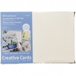 "Strathmore® 5 x 6.875 Palm Beach/Plain Edge Creative Cards 50-Pack: Blue, White/Ivory, Envelope Included, Card, 50 Cards, 5"" x 6 7/8"", 80 lb"