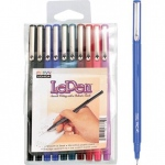 Marvy® LePen 10-Piece Fineline Marker Set: Multi, Water-Based, Fine Nib, (model MR4300-10A), price per set
