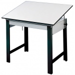 "Alvin® DesignMaster Table Black Base White Top 37.5"" x 72"": 0 - 45, Black/Gray, Steel, 37"", White/Ivory, Melamine, 37 1/2"" x 72"""