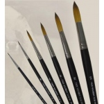Dynasty® Faux Kolinsky Round Brush Size 3/0: Long Handle, Synthetic, Round, Watercolor, (model FM36950), price per each