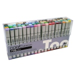 Copic® Sketch 72-Color Marker Set B: Multi, Double-Ended, Alcohol-Based, Refillable, Broad Nib, Brush Nib, (model S72B), price per set