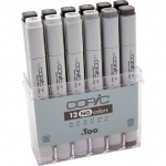 Copic® Original Set Neutral Gray Marker: Black/Gray, Double-Ended, Alcohol-Based, Refillable, Broad Nib, Fine Nib