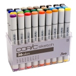 Copic® Sketch 36-Color Basic Marker Set: Multi, Double-Ended, Alcohol-Based, Refillable, Broad Nib, Brush Nib