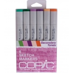 Copic® Sketch 6-Color Second Tones Marker Set: Multi, Double-Ended, Alcohol-Based, Refillable, Broad Nib, Brush Nib, (model SSECONDARY), price per set