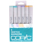 Copic® Sketch 6-Color Pale Pastel Marker Set: Multi, Double-Ended, Alcohol-Based, Refillable, Broad Nib, Brush Nib, (model SPASTELS), price per set