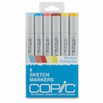 Copic® Sketch 6-Color Perfect Primary Marker Set: Multi, Double-Ended, Alcohol-Based, Refillable, Broad Nib, Brush Nib, (model SPRIMARIES), price per set