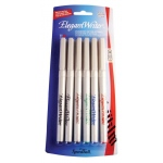 Speedball® Elegant Writer® Calligraphy 6-Color Fine Marker Set: Multi, Dye-Based, Fine Nib, Calligraphy, (model S2881), price per set