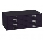 "Mayline® 10-Drawer C-File Black: 1000 Sheets, Black/Gray, Steel, 10-Drawer, 41 3/8""d x 53 3/4""w x 15 3/8""h"