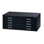 "Mayline® 5-Drawer C-File Black: 1000 Sheets, Black/Gray, Steel, 5-Drawer, 41 3/8""d x 53 3/4""w x 15 3/8""h"