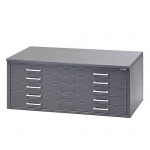"Mayline® 5-Drawer C-File Gray: 1000 Sheets, Black/Gray, Steel, 5-Drawer, 41 3/8""d x 53 3/4""w x 15 3/8""h"