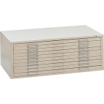 "Mayline® 10-Drawer C-File Gray: 1000 Sheets, Black/Gray, Steel, 10-Drawer, 41 3/8""d x 53 3/4""w x 15 3/8""h"