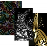 Inovart Skratch n' Sketch Gold and Silver Foil Scratch Paper - 5 sheets each color w/ Stylus