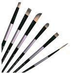 Dynasty® Black Silver® Blended Synthetic Oil/Acrylic Brush Bright 0: Long Handle, Bristle, Bright, Acrylic, Oil