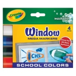 Crayola® Washable Window Mega Marker School 4-Color Set: Multi, Washable, (model 58-8171), price per pack