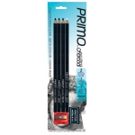 Primo® Euro Blend™ Charcoal Pencil Set: Black/Gray, White/Ivory, Hard, Medium, Soft, Pencil, (model 59PBP), price per pack