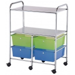 "Blue Hills Studio™ Storage Cart 4-Drawer (Deep) with 2-Shelf Multi-Colored: Multi, 13 3/4""l x 9 3/4""w x 5""h, Plastic, 4-Drawer, 15 1/4""d x 23 5/8""w x 32""h, (model SC4MCDW-S), price per each"