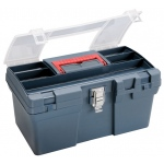 "Heritage Arts™ Medium Art Blue Tool Box: Black/Gray, Plastic, 8""d x 16""w x 9 1/2""h"