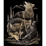 "Royal & Langnickel® Engraving Art Set Gold Foil Wolves: 8"" x 10"", Metallic, (model GOLF18), price per set"